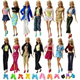 ZITA ELEMENT 10 Set Clothes Dress Outfits & 10 Shoes for Barbie Doll Accessoris | Shirt Blouse + Trousers Mix Skirt Gown - Random Style Casual Wear