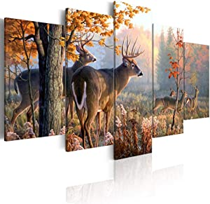 ArtHome520 Deer Canvas Wall Art Canvas Print Landscape Painting Picture Living Room Home Decor Animal (Over Size 40'' x 20'')