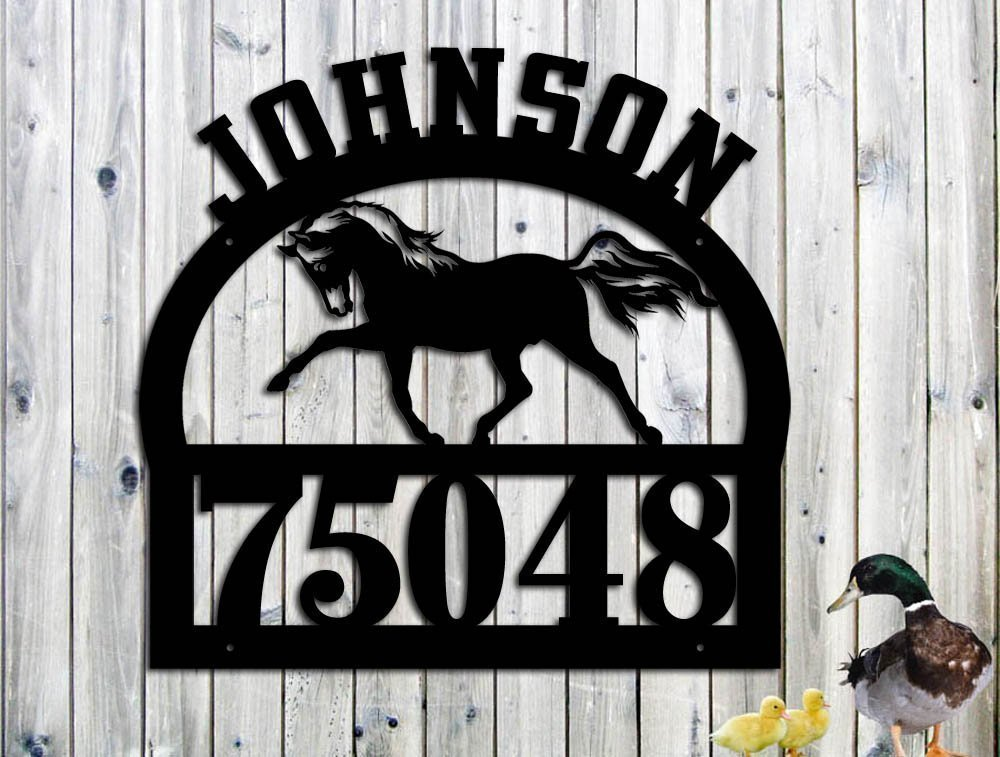 Horse Personalized Address Family Name Custom Metal Sign Hand Made USA - LARGE SIGN (23.5w x 23 h)