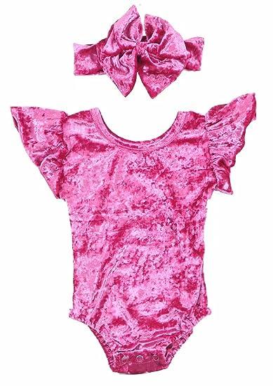 365d77c56827 Amazon.com  Baby Girls Velvet Leotard Ruffle Romper Flutter Sleeve ...