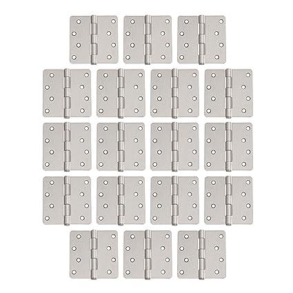 """Satin Nickel Door Hinge 4/"""" with 1//4/"""" corner radius 4 inch"""