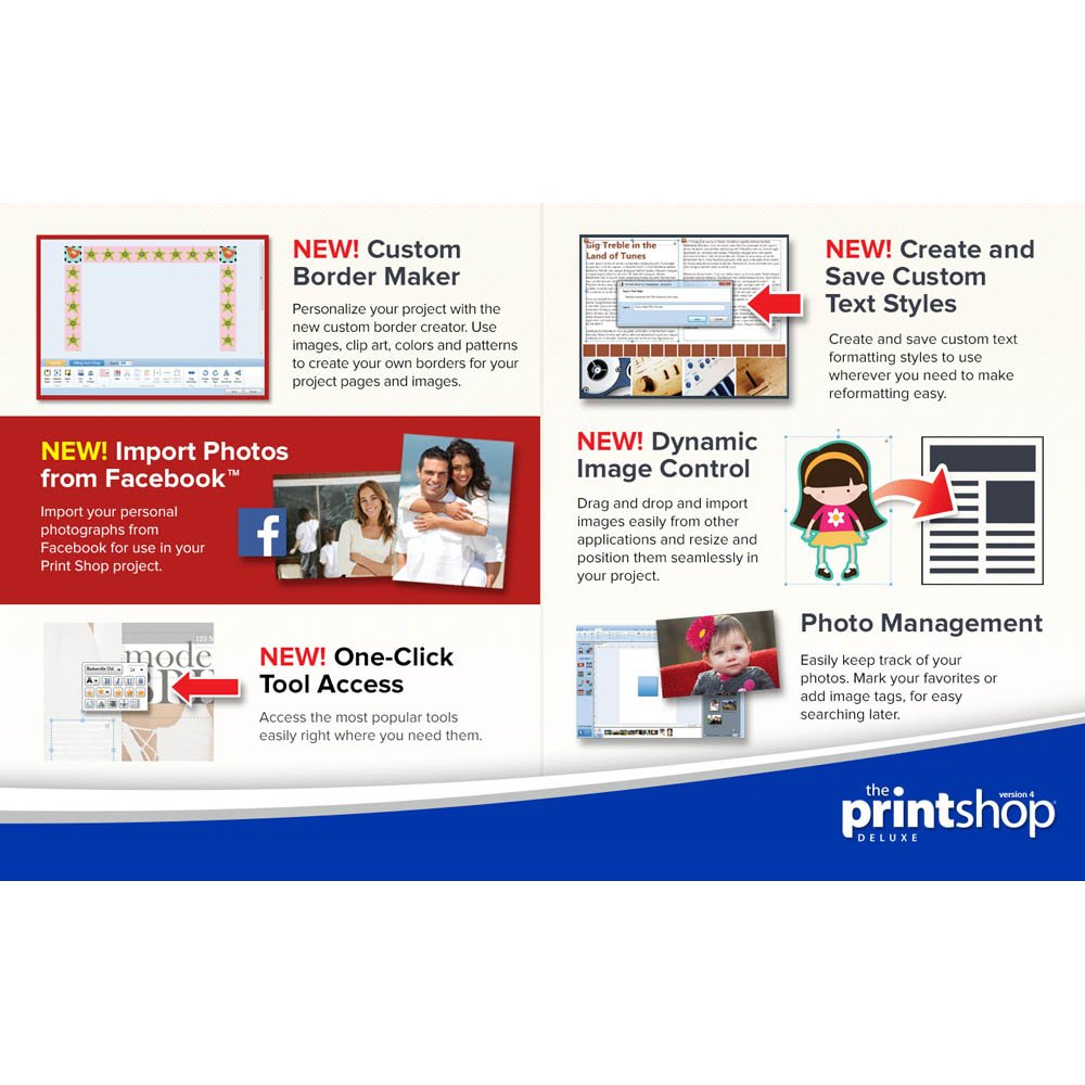 The Print Shop is back and better than ever. For over 30 years, America's favorite desktop publishing software has continuously added new features and functionality to give you maximum flexibility in your personal and business creative projects. Get inspired by .