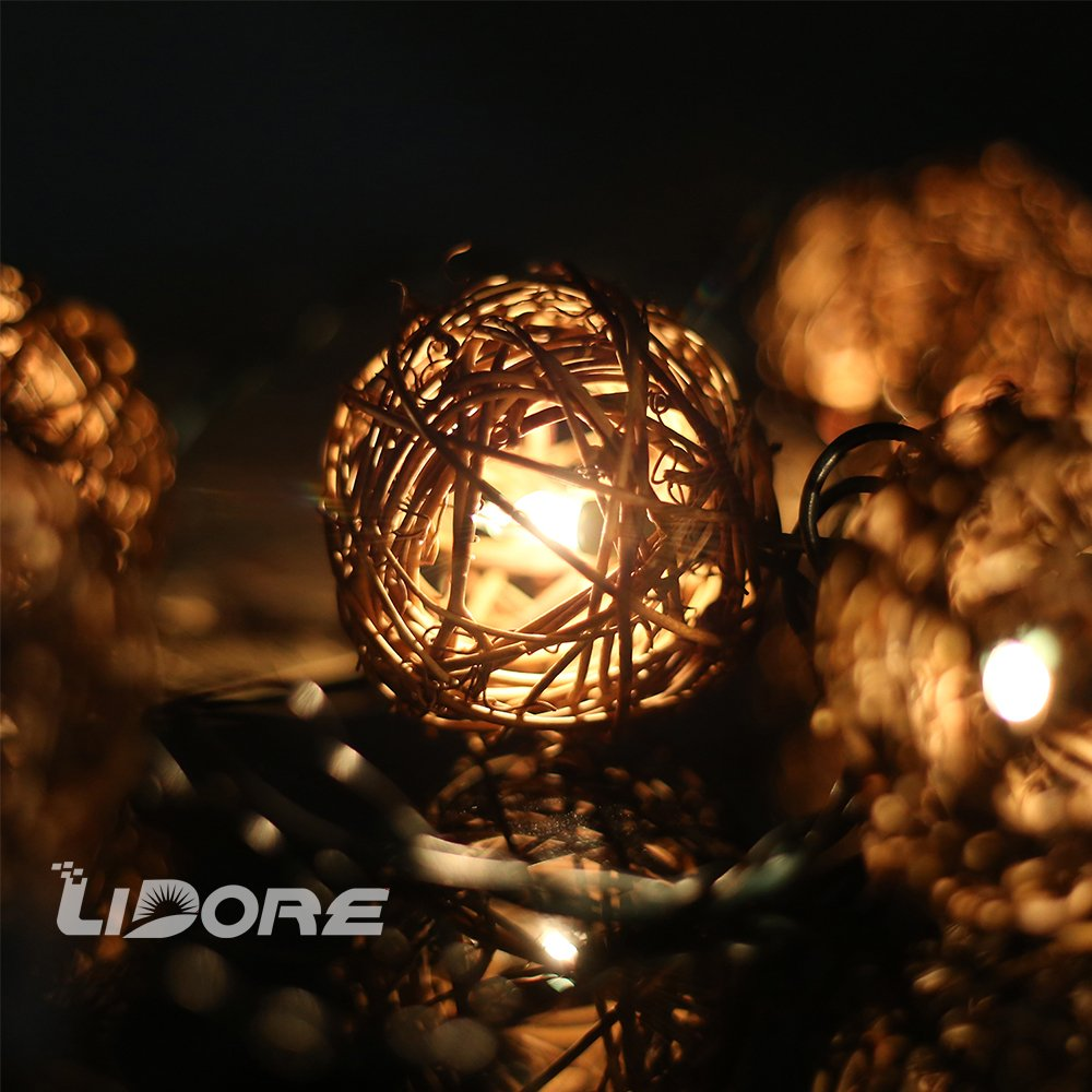 LIDORE 10 Counts Natural Rattan Balls String Light. Warm White Light for Patio, Wedding, Garden and Party Brown Rattan and Green Cord