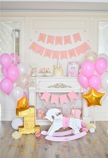 YongFoto 1,5x2,2m Vinilo Telon de Fondo Cumpleaños 1 año Hermosas Decoraciones Fondos Fotograficos Photo Booth Infantil Party Banner Niña Niño Photo ...