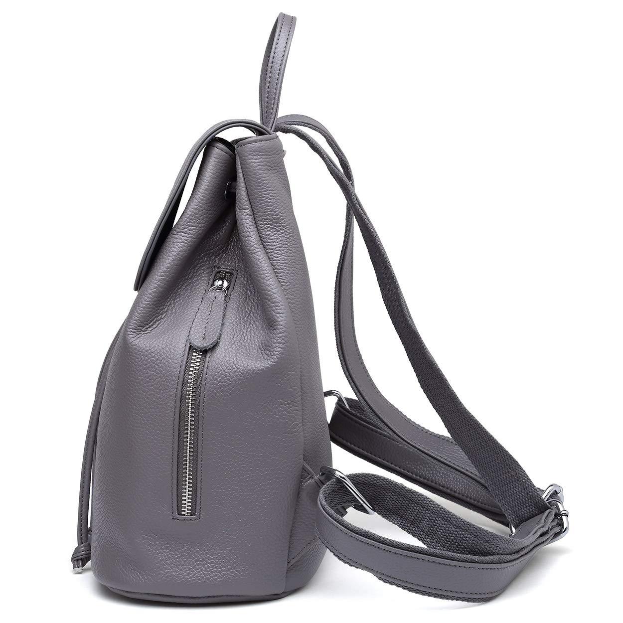 Dam äkta läder ryggsäck elegant ryggsäck söt skola axelväska kvinnor resväska Grå