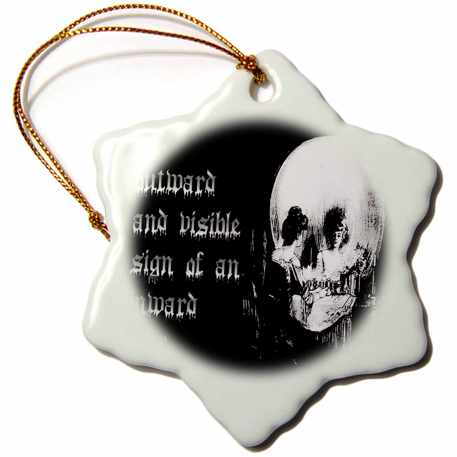 3dRose All Is Vanity Ghost, Halloween, Optical Illusion, Paranormal, Seasonal, Silhouette, Skeleton Snowflake Ornament, 3''