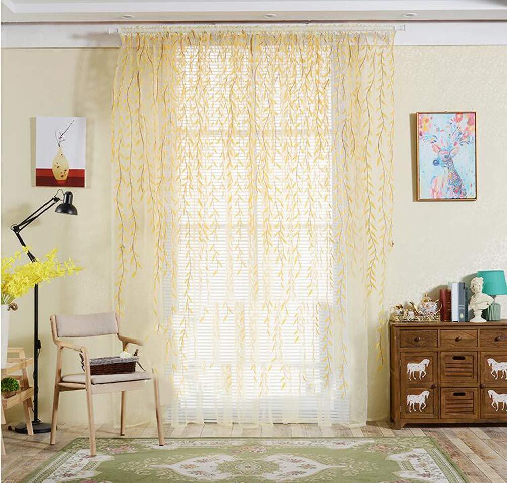 YJ Bear美しいフラワープリントポリエステル薄手カーテンパネルの寝室ボイルWindow Drapes With Grommets /フックリビングルームのウィンドウTreatmentセットウェディング/パーティー 118