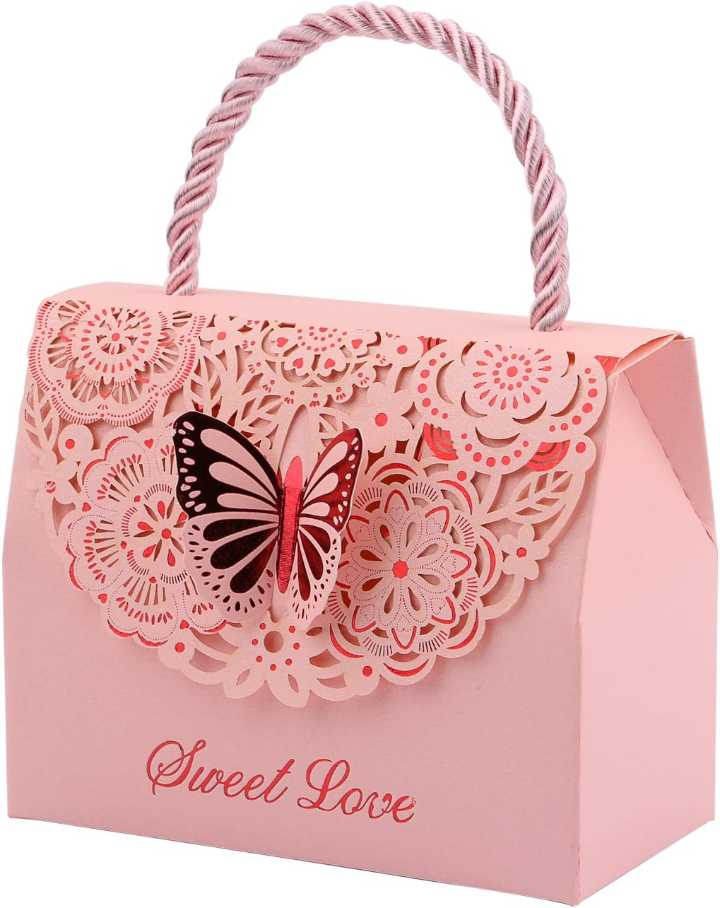 Pink DriewWedding Party Favor Bags Paper for Anniversary 20pcs Wedding Decorative Boxes Gift Bags Butterflies with Handle 4.3x2.2x3.5 Birthday Parties Bridal Showers Baby Shower