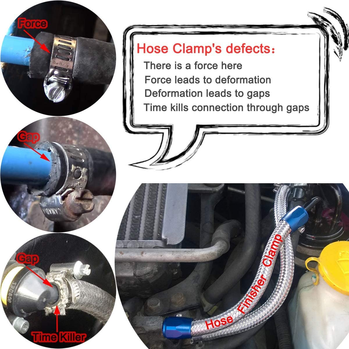 Tasan Racing 4Pcs//Pack Flexible Rubber AN4 Hose Pipe Clamp with Screw Band for Fuel//Oil//Diesel//Gas//Air and Water Hose Tube Red