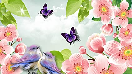 Amazon Com Flowers Butterflies Birds Spring Edible Icing Image 1