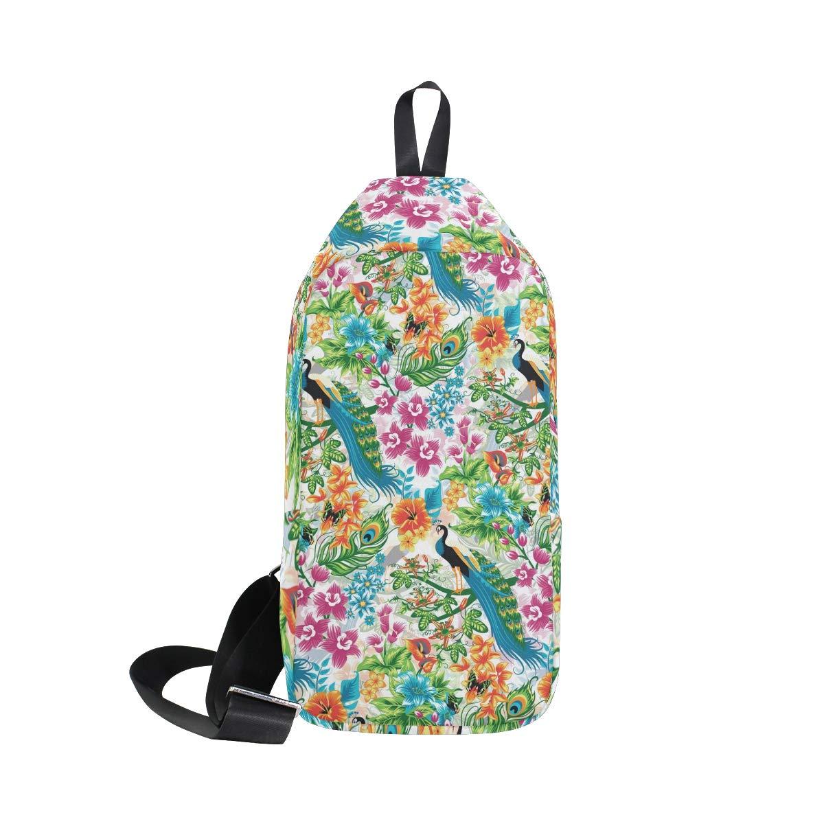 Unisex Messenger Bag Peacocks Flower Shoulder Chest Cross Body Backpack Bag