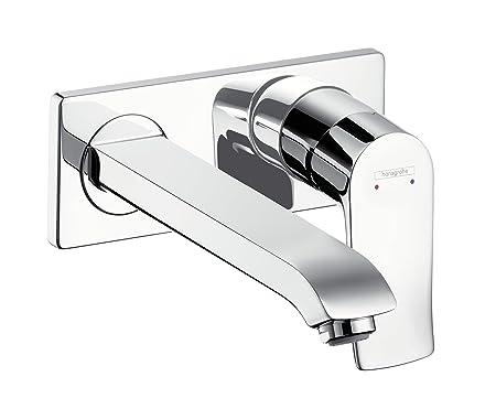 hansgrohe Metris wall-mounted basin mixer tap, 165 mm spout, chrome ...