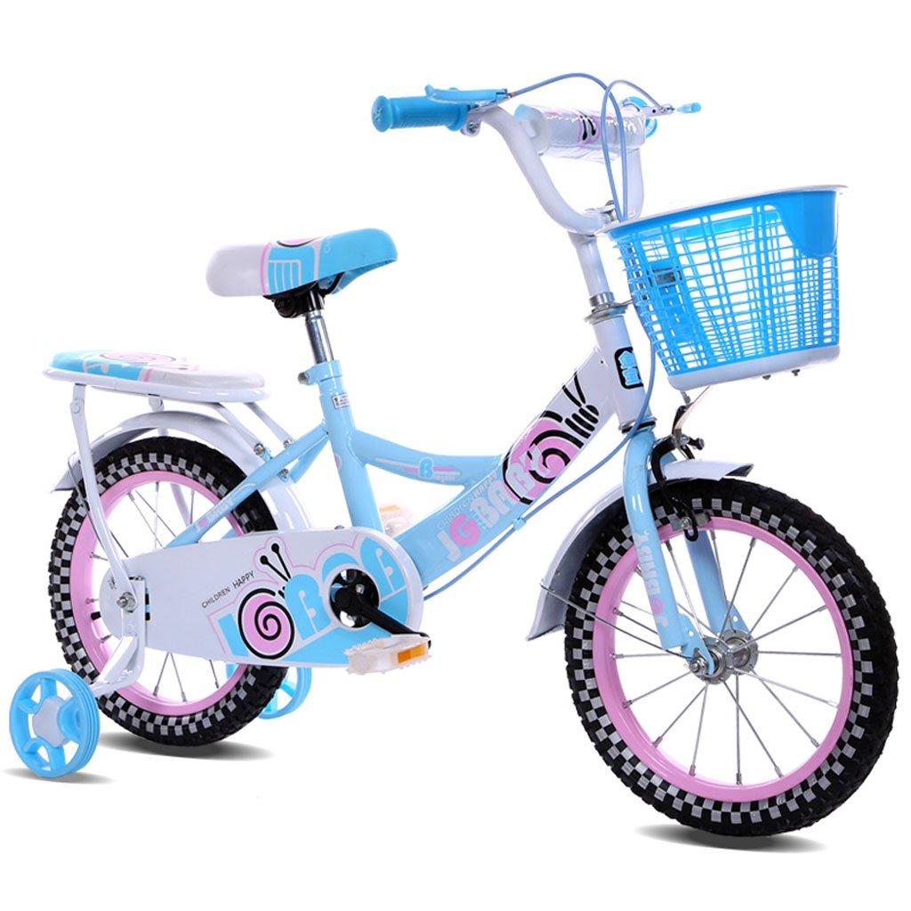 子供用自転車12/14/16インチガールベビーキャリア2-4-3-3-5/4-7歳の自転車高炭素鋼フレーム、ピンク/ブルー/パープル (Color : 14 inch blue) B07D294BJW