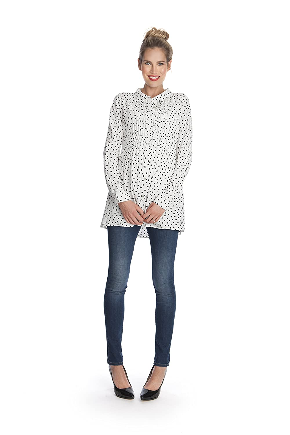 d917cb5976519 Seraphine Women's Polka Dot Button Down Maternity Blouse at Amazon Women's  Clothing store: