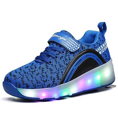 Unisex Sneaker mit Rollen Skateboard Kinder LED Leuchtet Sohle Leuchtend Sport Schuhe Jungen Mädchen (EU 31, Dan/Schwarz)