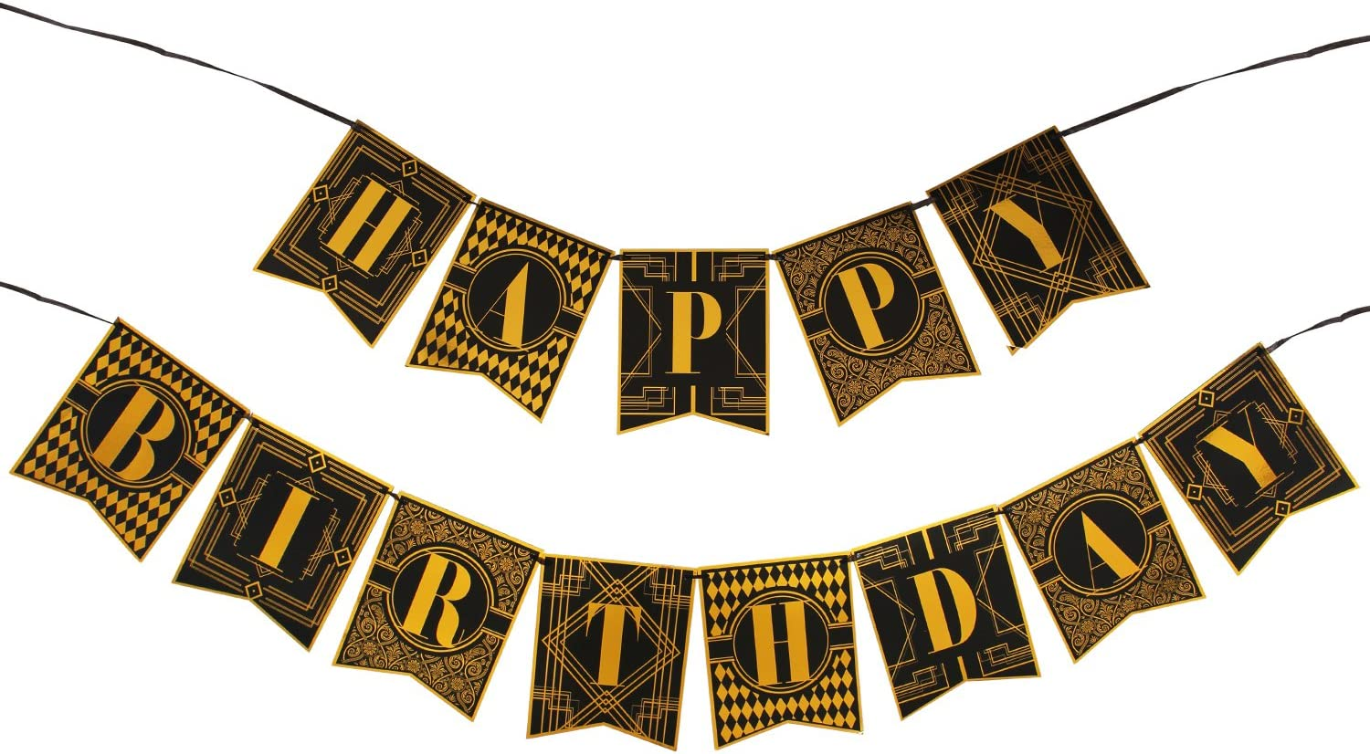 Roaring 20S Party Decorations Happy Birthday Banner BLACK /& GOLD Bunting 1920S V
