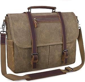 Mens Messenger Bag 15.6 Inch Waterproof Vintage Waxed Canvas Messenger Bag Computer Laptop Briefcase Satchel Shoulder Bag (Khaki)