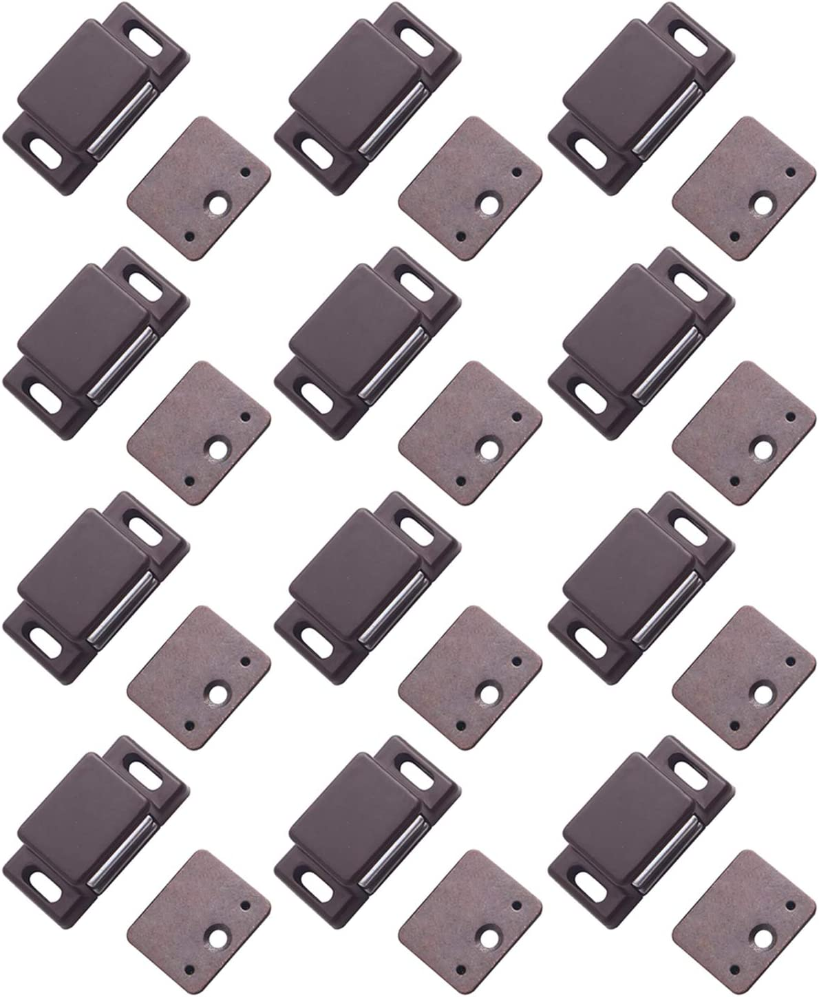 """Antrader 12-Pack 10-15lbs Magnetic Cabinet Door Catch Plastic Stop Holder Closet Latch with Screws, 1.6"""" x 0.8"""" x 0.5"""", Brown"""