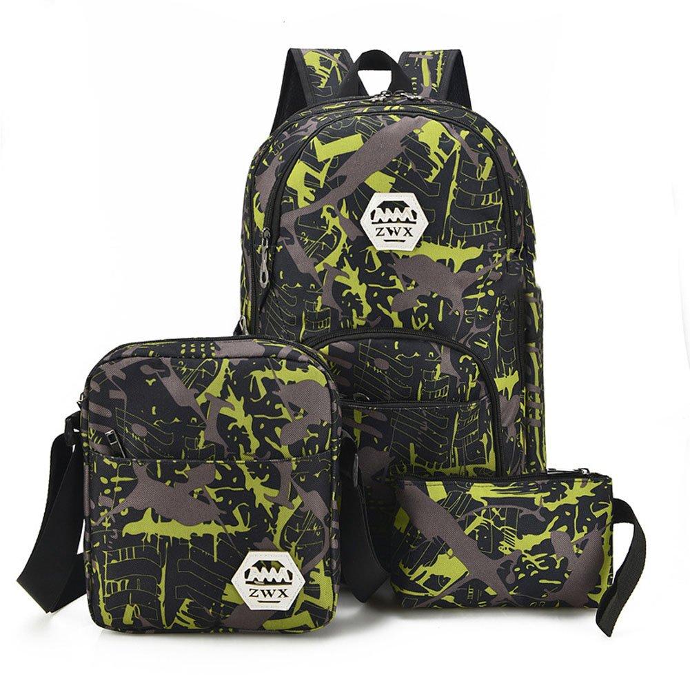 3 Pieces Backpack Men's Laptop Backpack USB Charging Port Daypacks College Bag Travel Backpack Waterproof Backpack 15 Inch Notebook Green Bookbag
