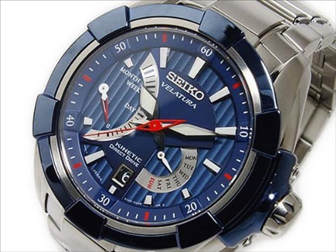 [Seiko Seiko Kinetic Direct Drive Azul cinético SRH017P1 Reloj para Hombres de Cuarzo [
