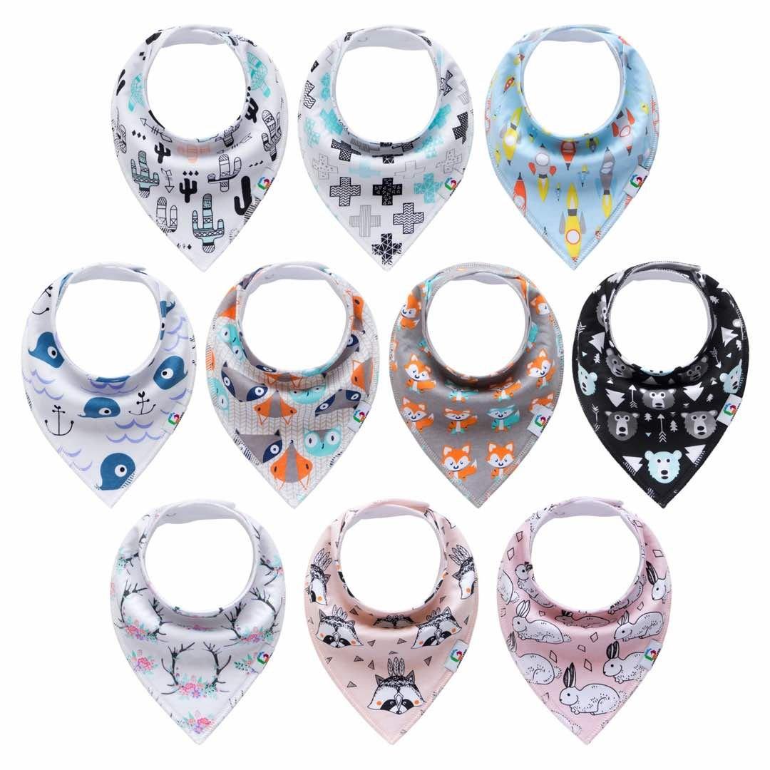 Baby Bandana Bibs set of 10-pack for Teething, Boys & Girls, Super Absorbent Bandana Drool Bibs, Organic 100% Cotton