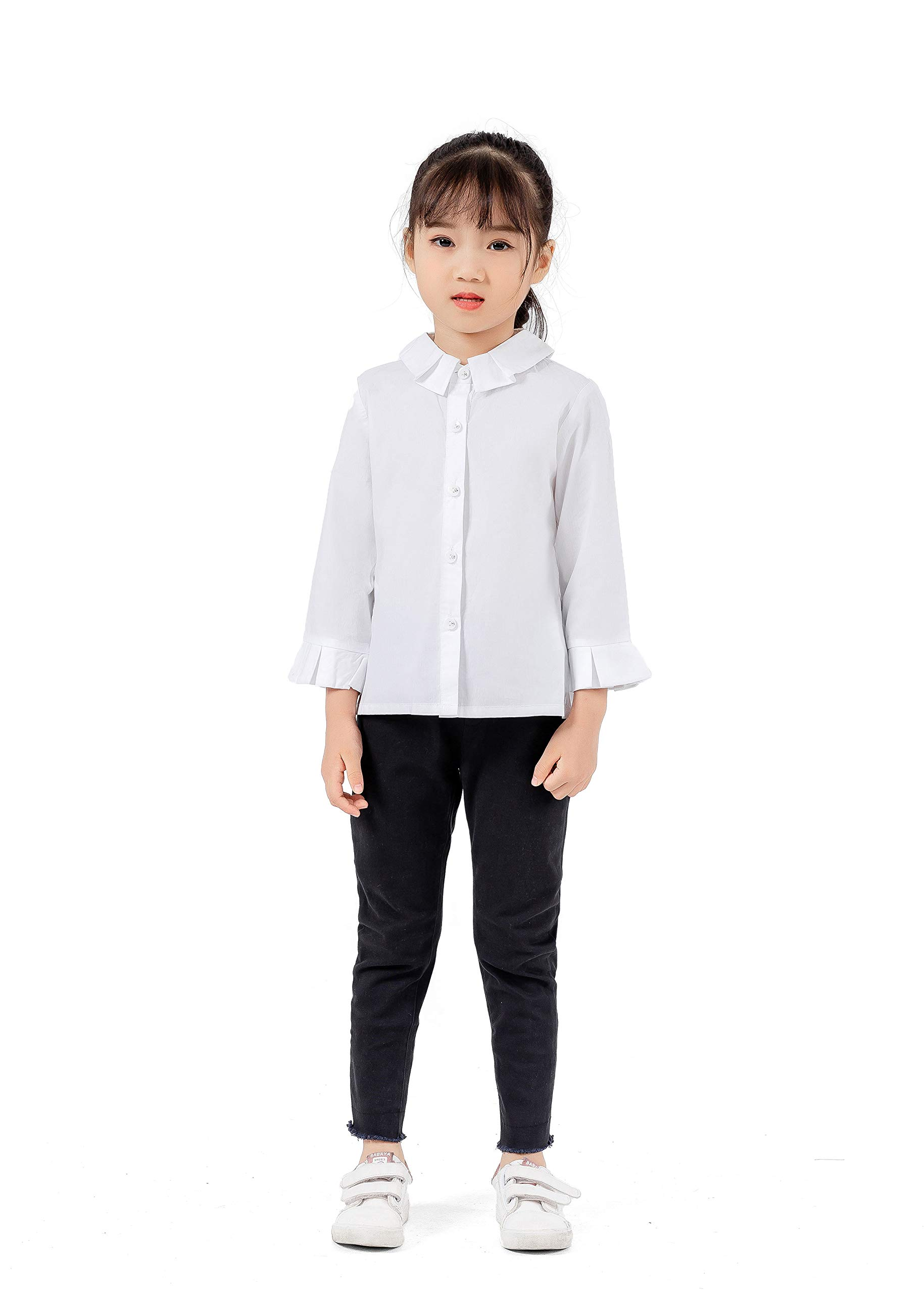Magkay Kids Big Girls Frayed Elastic Trousers Plain Soft Pants Black 7Y-8Y