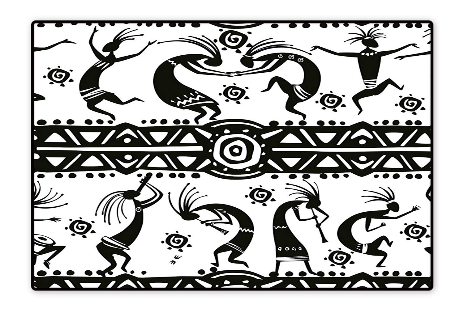 Area Rug Ethnic African Aztec Dance with Geometrical Borders Triangles Round Swirls Art Black and White Modern Watercolor Multicolor 4'x5'