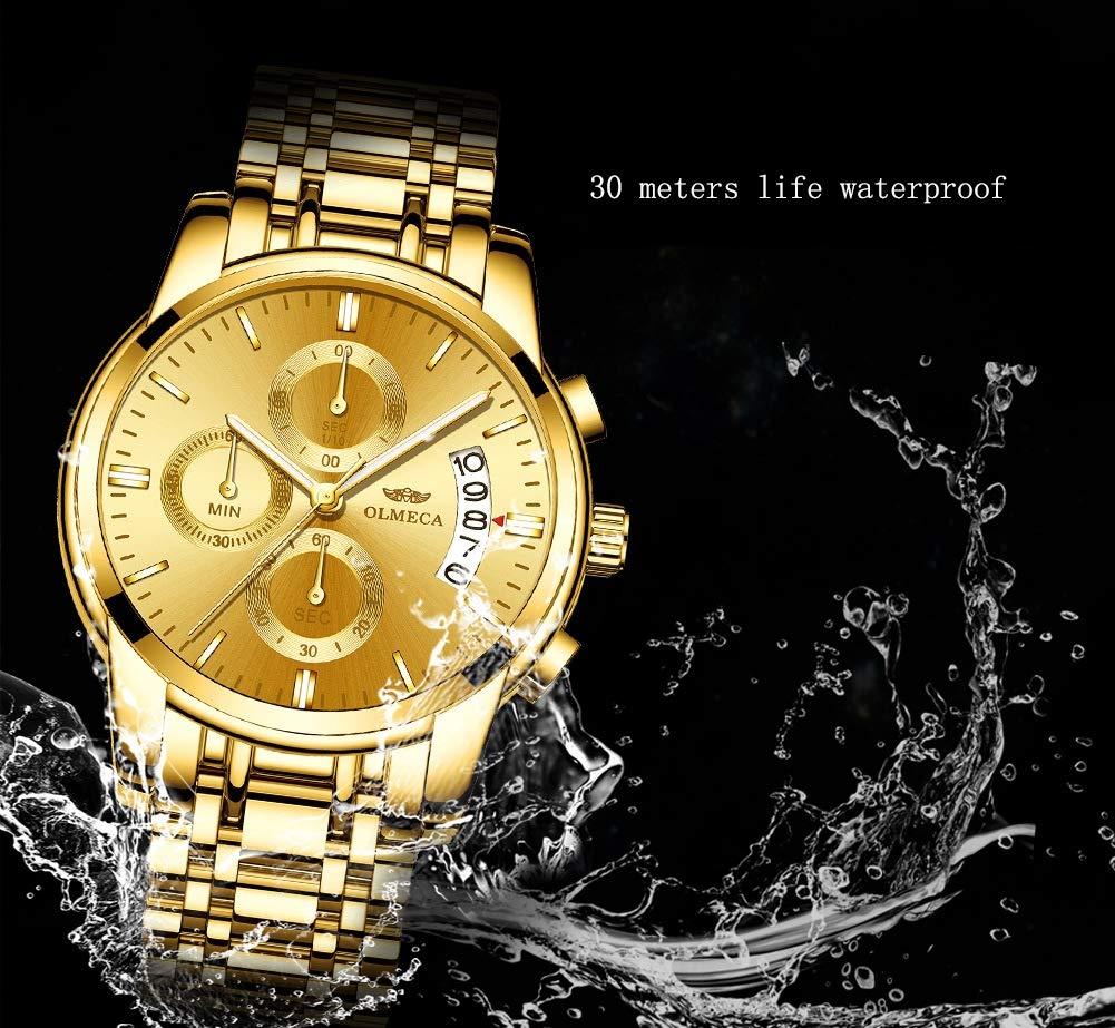 Gskj herrklocka kvartsur mode metall multifunktion vattentät klocka rund tre ögon, 6 nålar lämplig för män affärer 06
