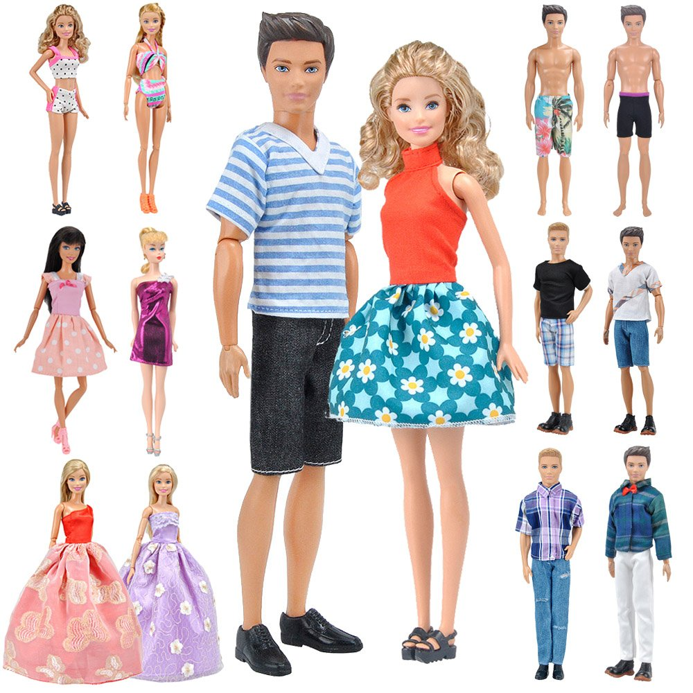 E-TING Lot 12 Items = Fashion Dress Swimsuit Casual Outfit Suit Couple Dating Clothing Accessories Shoes for Girl Boy Dolls Random Style (Casual Wear Clothes + Dress + Swimwear)