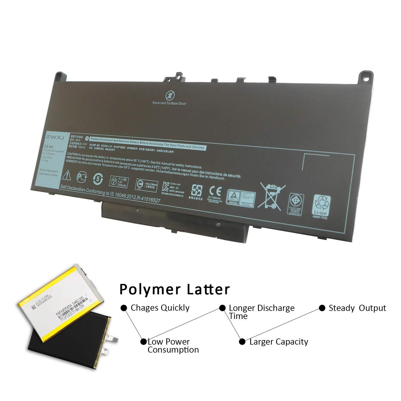 ZWXJ Laptop Battery Type J60J5 (7.6V 55WH) for Dell Latitude E7270 E7470 Series WYWJ2 MC34Y 0MC34Y 1W2Y2 242WD 451-BBSY 451-BBSX dell j60j5 dell 242wd Battery dell 451-bbsx by ZWXJ (Image #2)