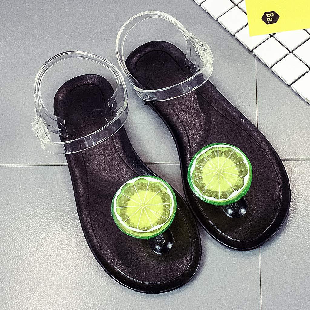 Midress Womens Sweet Summer Sandals Fashion Transparent Strap Lemon Pattern Flat Sandals Beach Shoes Slides Clip Toe Flip Flops