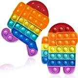 2 Rainbow Pop Fidget Toys, Among Us Colorful Push Pop Bubble Squeeze Sensory Fidget Toys Anti-Anxiety Stress Relief Toys…