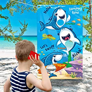 partyGO Shark Toss Games with 3 Been Bags Little Shark Theme Party Supplies/Decorations Fun Carnival Toss Games for Kids and Adults in Summer Kids' Birthday Party Summer Pool Party Baby Shower