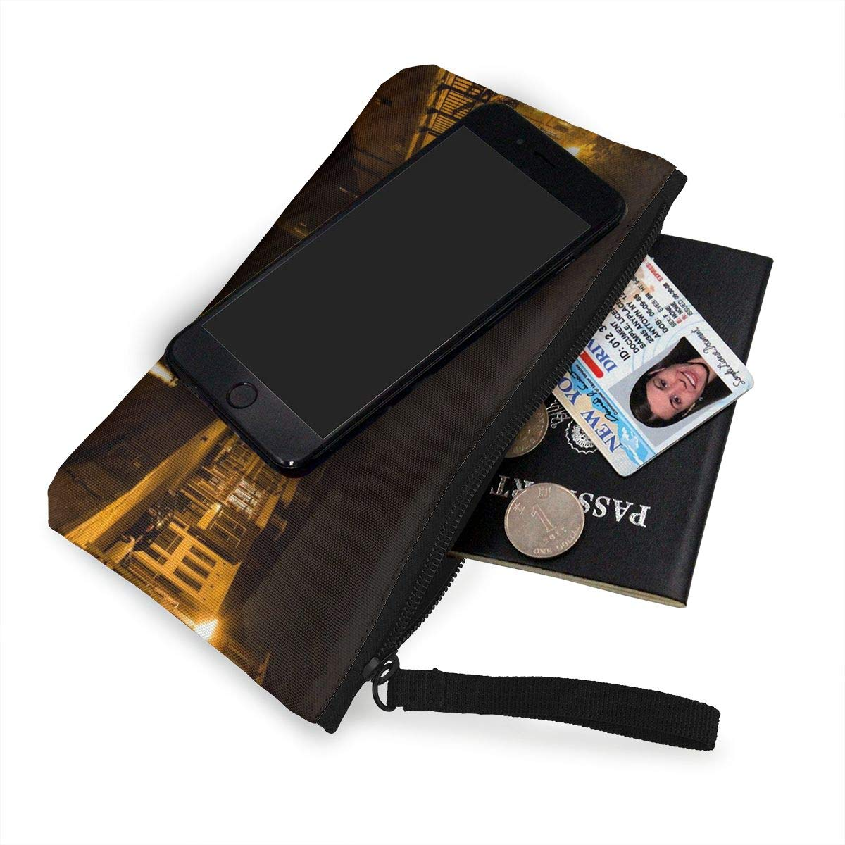 Make Up Bag,Cellphone Bag With Handle City Night Evening Canal Zipper Canvas Coin Purse Wallet