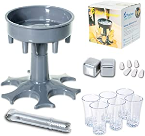 6 Shot Glass Dispenser and Holder with 6 Glasses and 2 Stainless Steel Chilling Whiskey Stones for Filling Liquids, Shot Buddy Dispenser with Silicone Plugs for Cocktail, Bar Game and Party