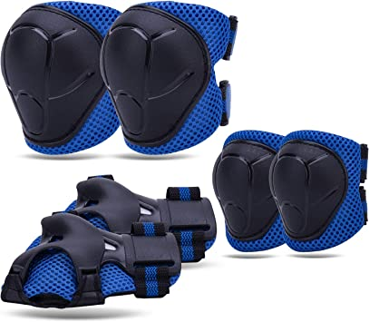 NONMON Knee Pads for Kids Elbow Pads for 3-8 Y/O Kids Toddler, Protective Gear Set with Wrist Guards, Adjustable Strap for Inline Skating Scooter Bike Riding Skateboard Cycling