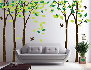 Amazoncom Amaonm 104x71 Giant Large Jungle 5 Trees Wall Decals