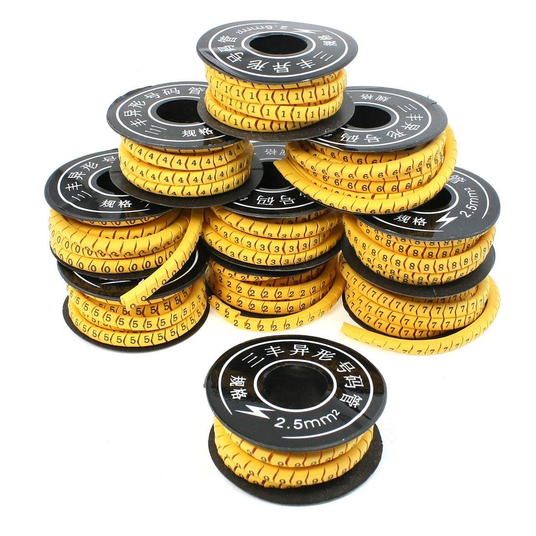Sourcingmap a13082100ux0584 - 0-9 Marcador de cables (PVC, 2500 piezas, 2,5 mm2)