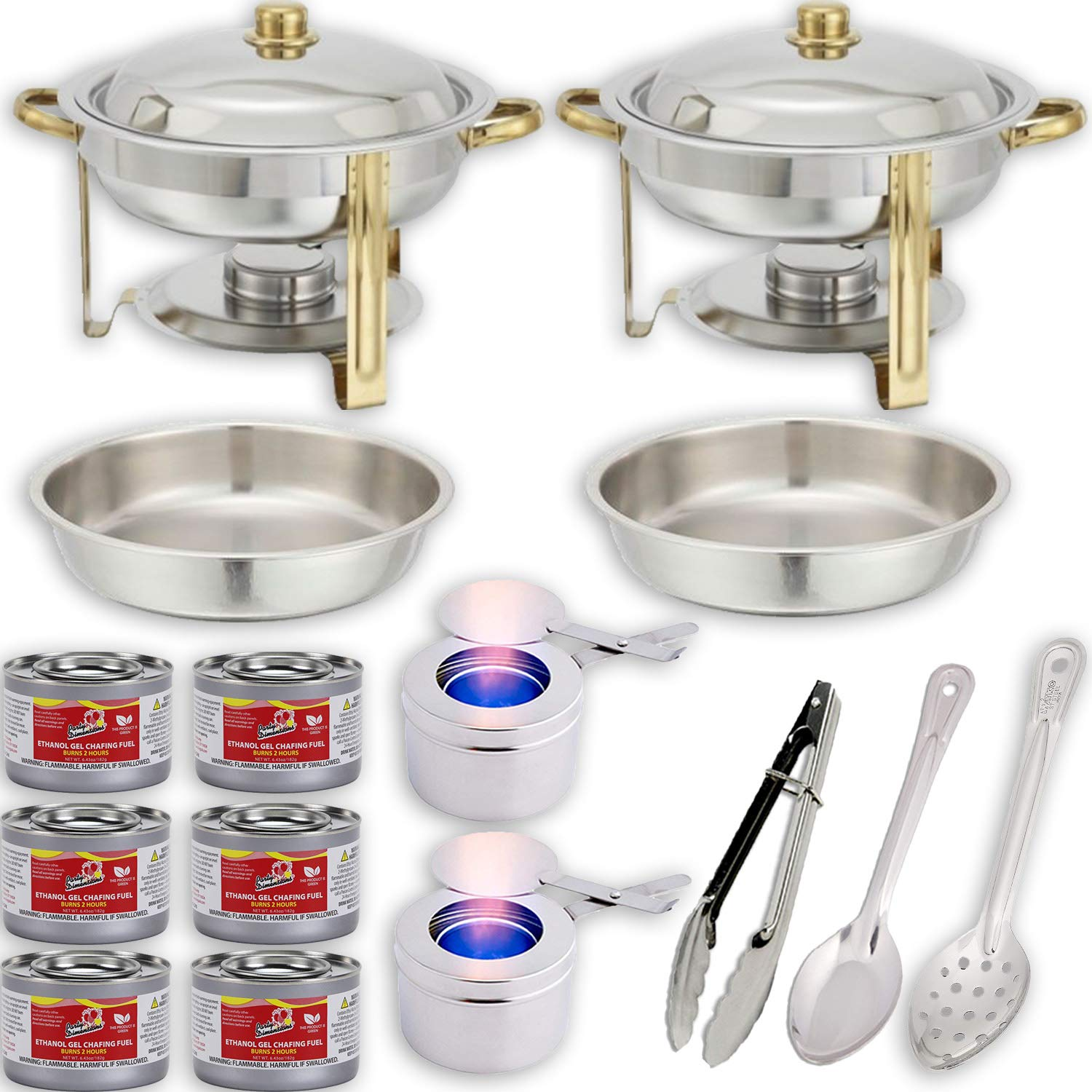 Round Chafing Dish Buffet Set w/Fuel - Water Pans + Food Pans (4 qt) + Frames + Lids + Fuel Holders + 6 Fuel Cans + Serving Utensils (11'' Perforated Spoon + 11'' Solid Spoon + 9'' Tong) - 2 Full Warmer