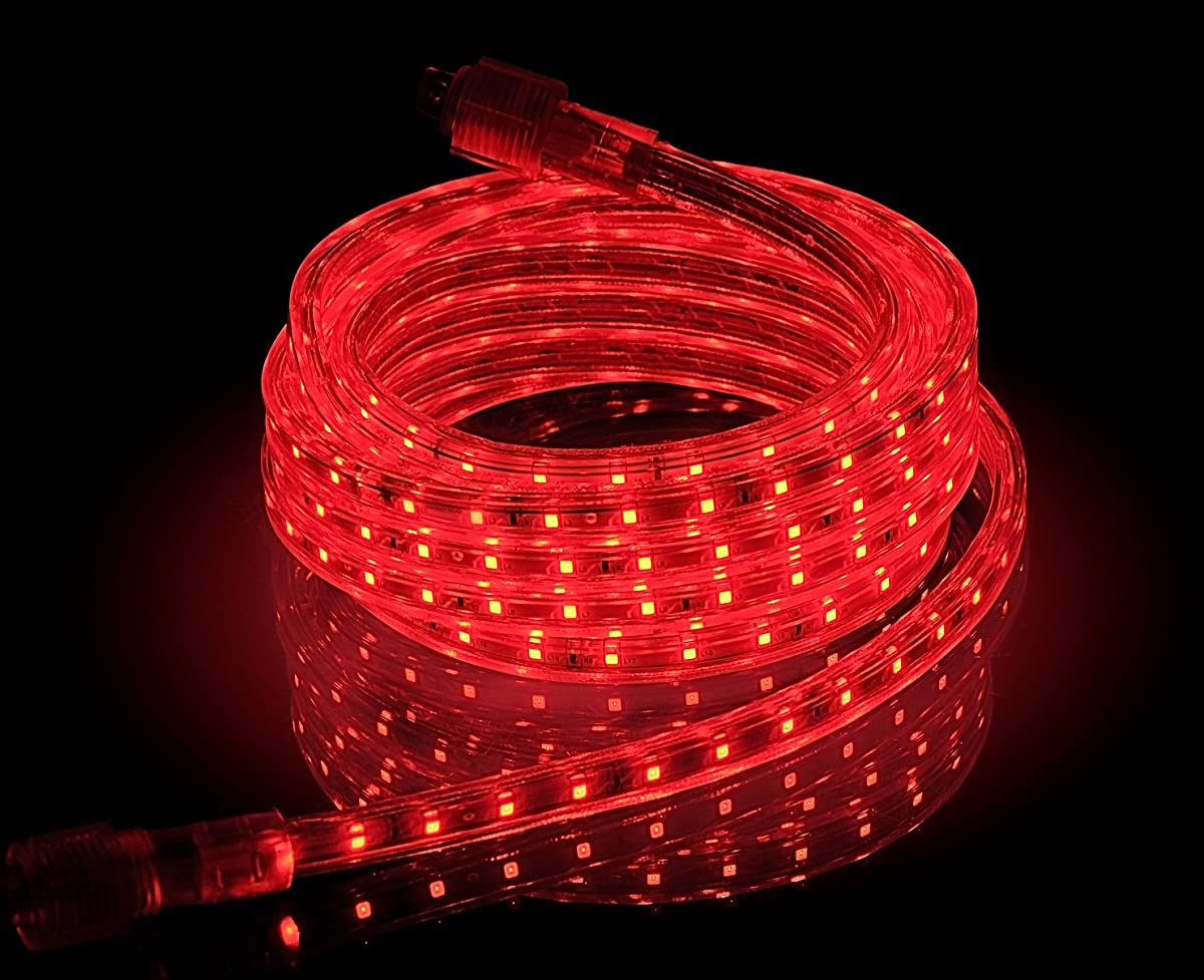 CBconcept UL Listed, 30 Feet, 3200 Lumen, Red, Dimmable, 110-120V AC Flexible Flat LED Strip Rope Light, 540 Units 3528 SMD LEDs, Indoor/Outdoor Use, Accessories Included, [Ready to use]