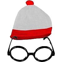 Costume Charlie Rouge/blanc Bonnet à pompon & Lunettes Thème Soirée Lunettes sans verres - - taille unique