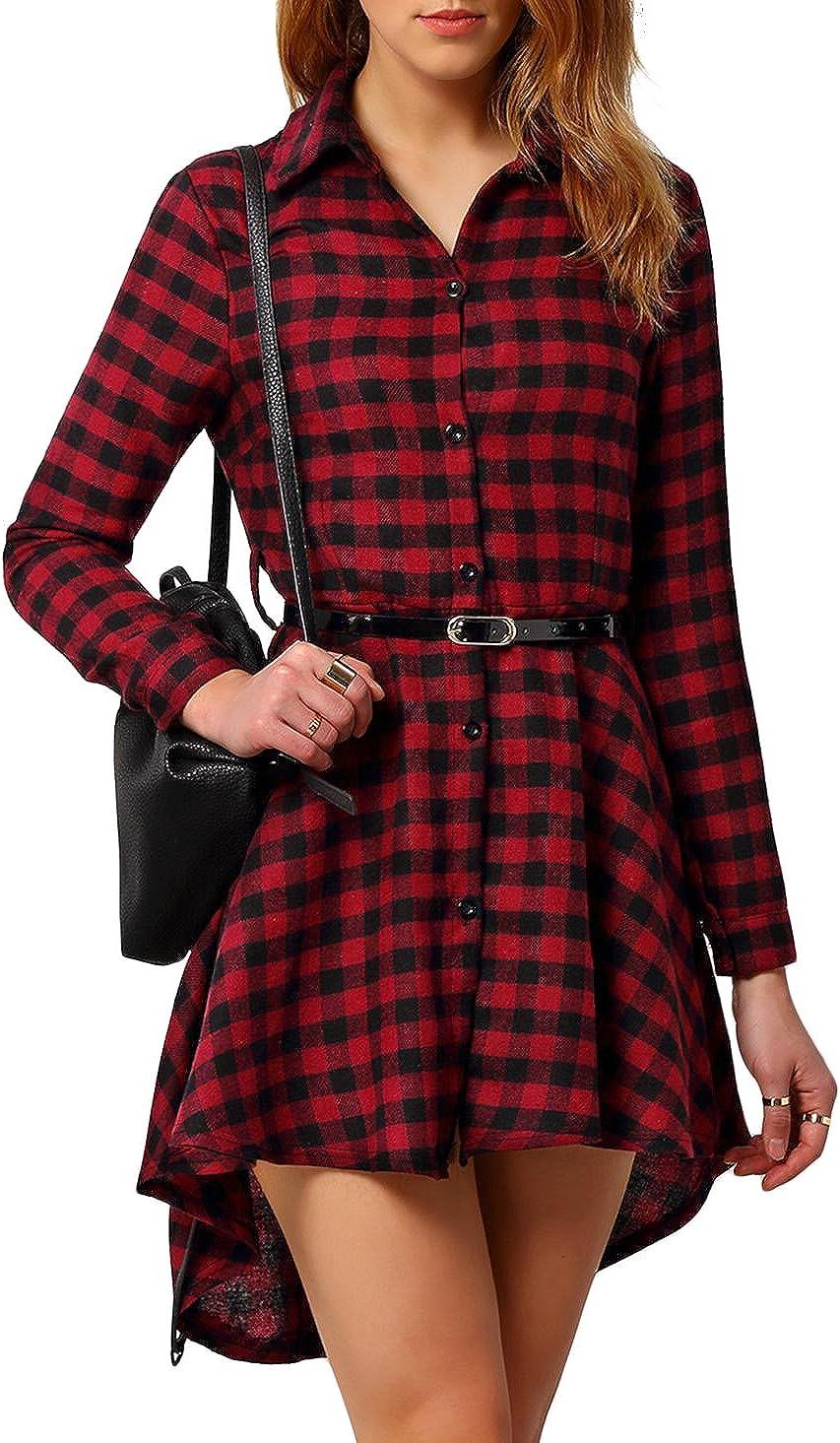 Vestido de Camisa roja Negro de Manga Larga a Cuadros de la Mujer: Amazon.es: Ropa y accesorios