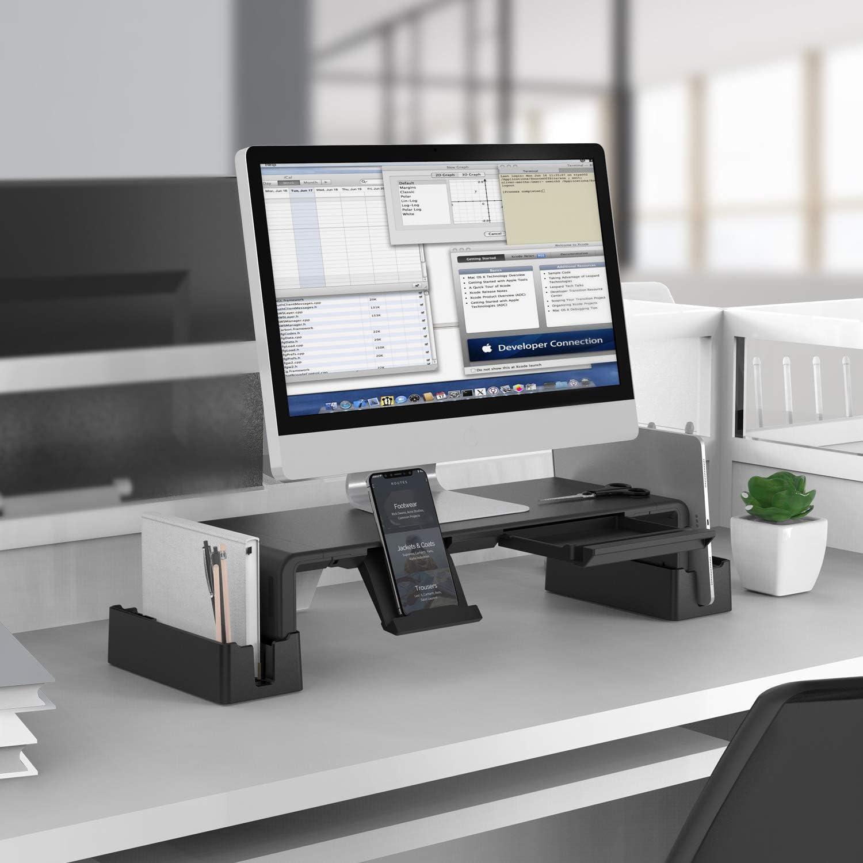 MiiKARE Monitorst/änder mit Aufbewahrungsfunktion,Verstellbarer Bildschirmst/änder mit ausziehbarer Schublade+Handy St/änder+2 Aufbewahrungsgestelle,Maximale Traglast 50kg f/ür Computer,Laptops,TV-Schwarz