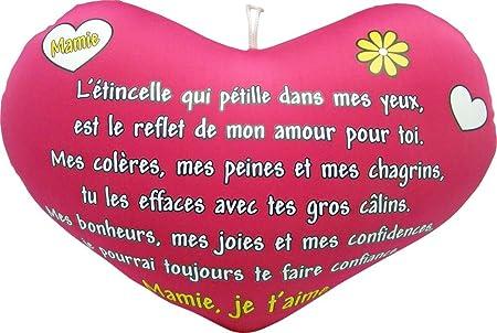 Coussin Microbille Poème Coeur Mamie Amazonfr Cuisine