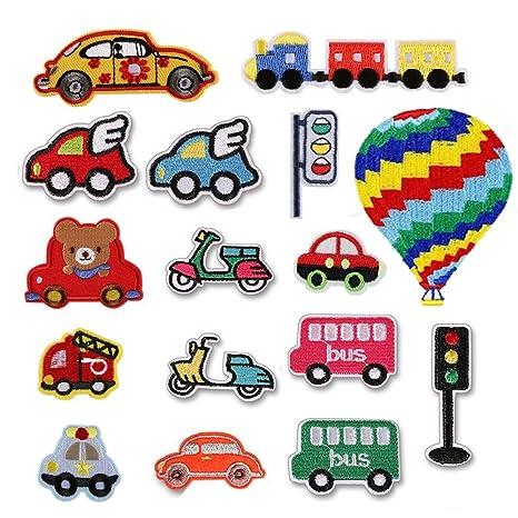 16pcs coche/Bus/motocicleta/Semáforo/Camión de bomberos/Tren/avión hierro en parche para manualidades pantalones vaqueros ropa niños vestido de Sew on ...