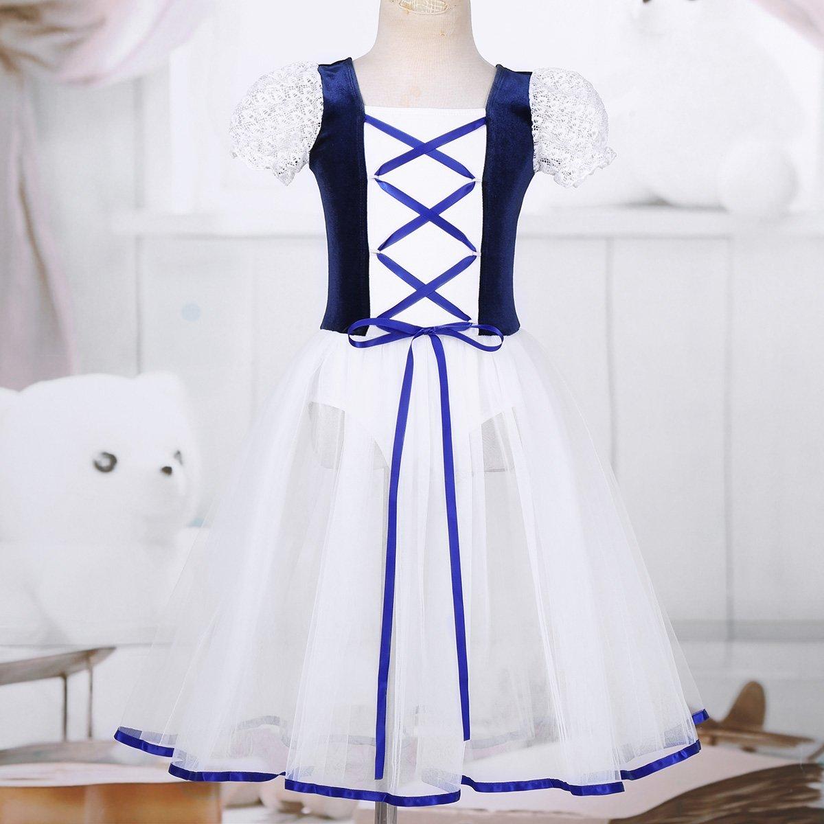 3c2c0141da00 iiniim Kids Girls Lacework Bubble Sleeves Tutu Ballet Dance Leotard Dancer  Dress Ballerina Fancy Costumes