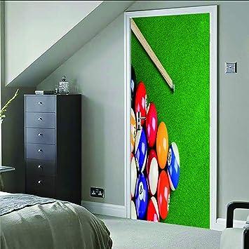 Adhesivos De Pared Para Billar Adhesivos De Puerta En 3D (77X200 ...