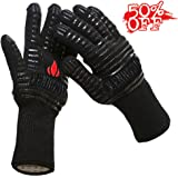 """BBQ Grilling Cooking Gloves - Menhoud 932°F Extreme Heat Resistant Gloves - 1 Pair (Long) - 14"""" Long For Extra Forearm Protection for Fireplace, Baking, Potholder and Oven-1"""
