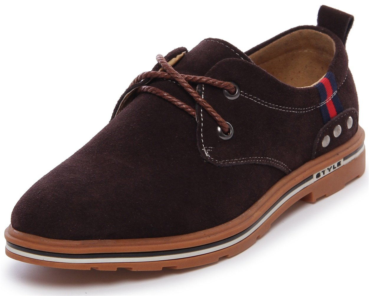 PPXID Men's Suede Leather Lace Up Casual Oxford Shoes-Brown 6 US Size