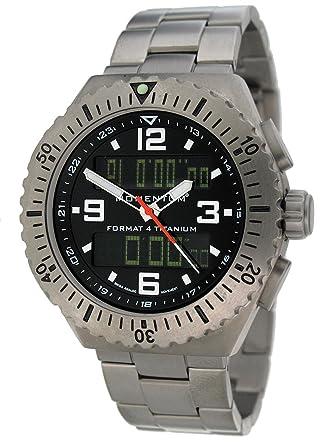 momentum format 4 men s quartz watch black dial analogue momentum format 4 men s quartz watch black dial analogue digital display and grey titanium